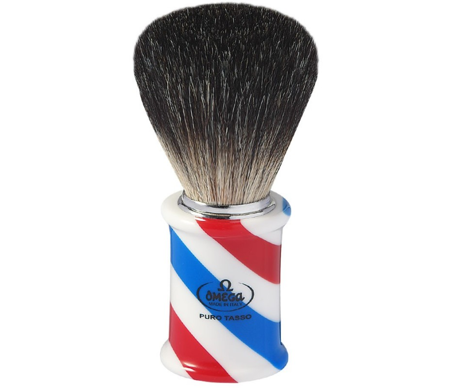 OMEGA PENNELLO DA BARBA TASSO NERO BARBER POLE