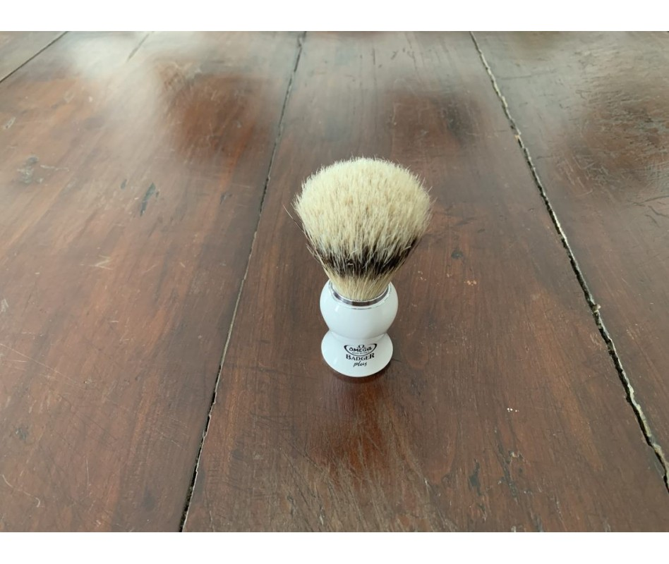 OMEGA PENNELLO DA BARBA BADGER PLUS BIANCO